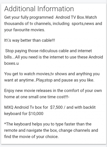 MXQ PRO Android TV BOXES $7500