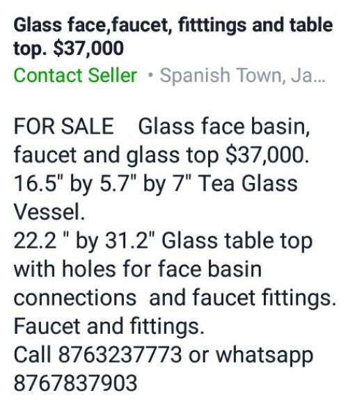 Tea Glass Vessel With Fixtures & Table Top.