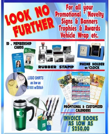 FOR ALL YOUR PROMOTIONAL NOVELTY SIGNS & BANNERS!