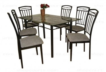 Glass Top Dining Table (6 Chairs)