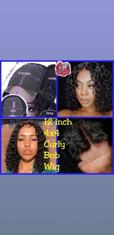Closure Bob Curly Wig