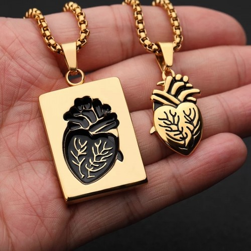 Couples Anatomical Heart Necklace