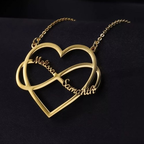 Heart Infinite Two Name Necklace