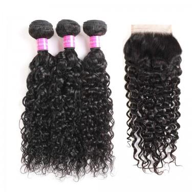 9A Brazilian Virgin Water Wave Human Hair 3 Bundle