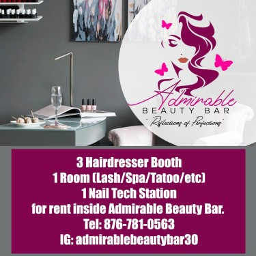 1 Hairdresser, 1 Nail Tech Station  & 1 Room