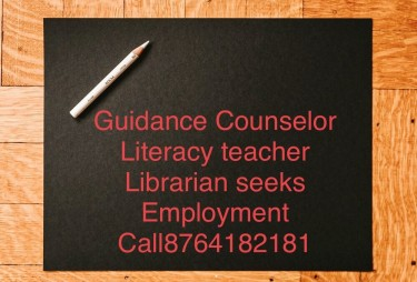 Guidance Counselor, Literacy Teacher Seeks  Job Full Time Jobs Mona, Kingston 7