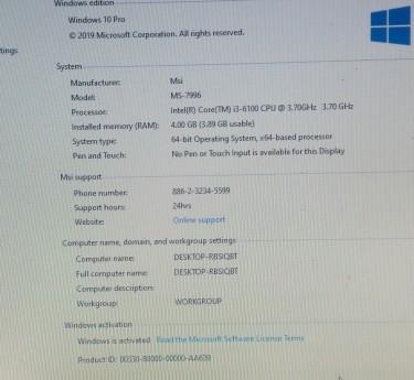 Intel Core I3 6th Gen PC /w HP Printer