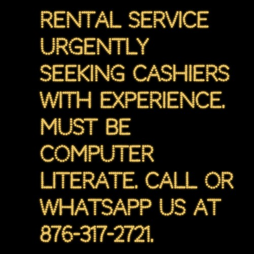 3 Cashier Urgently Needed.