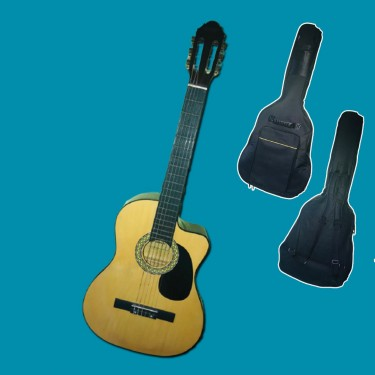Acoustic Guitar And Double Strap Guitar Bag