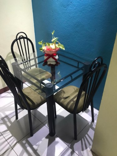 Glass Dining Table & Chair Set